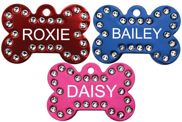 GoTags Bone Shape Dog ID Tags with Swarovski Crystals Personalized Engraved