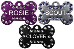 GoTags Bone Shaped Dog Tags with Swarovski Crystals, Personalized Engraved Pet Tags