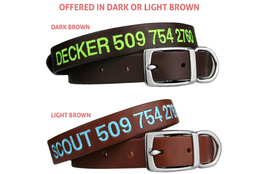 GoTags Brown Leather Dog Collars Custom Embroidered and Personalized with Dog Name and Phone Number