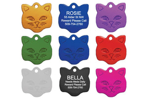 GoTags Cat Shape Cat ID Tag Personalized Engraved
