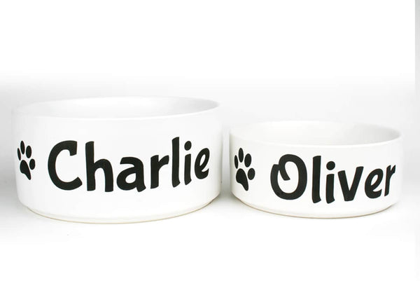 GoTags Pet Food Bowls Personalized with Name, Ceramic Food and Water Dish for Dog and Cat