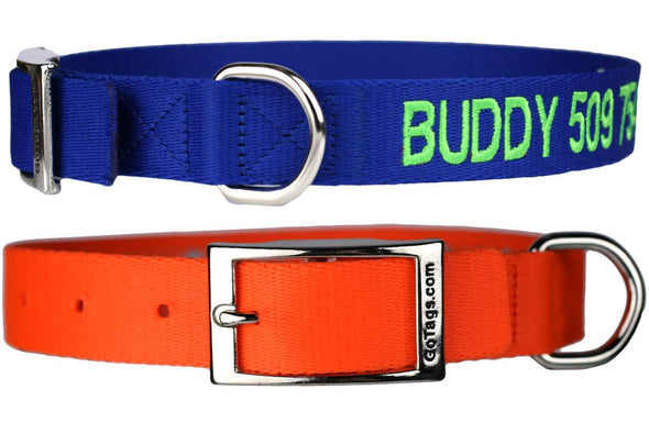 GoTags Embroidered Personalized Dog Collar with Name and Phone Number, Custom Dog Collars with Metal Buckle
