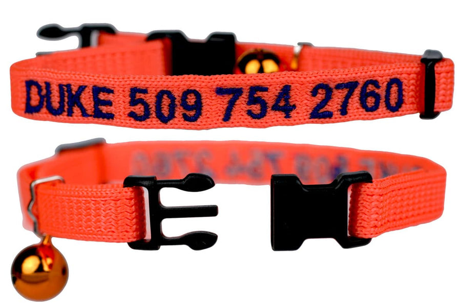 GoTags Personalized Orange Cat Collars Embroidered with Name and Phone Number, Breakaway Cat Collar with Bell