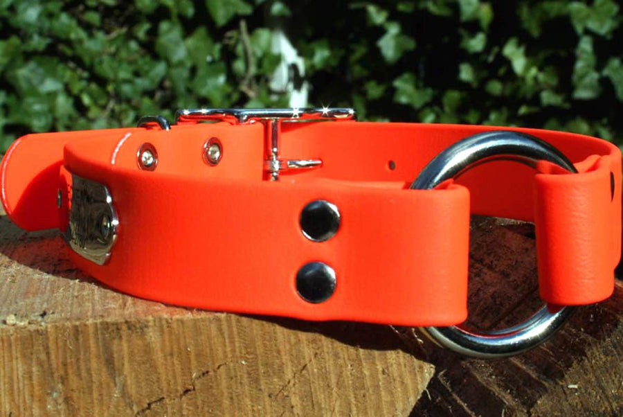 GoTags Personalized Waterproof Orange Hunting Dog Collar with Pivot Ring and Engraved Nameplate ID Tag