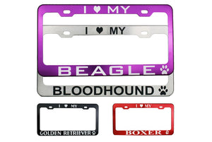 GoTags Personalized Dog Breed License Plate Frames Engraved
