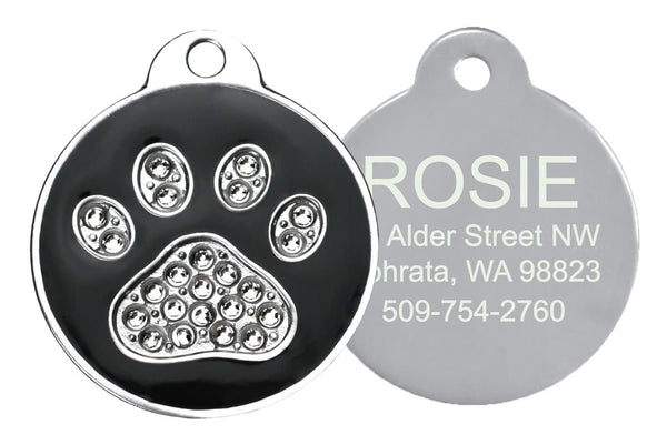 GoTags Black Pet ID Tags with Swarovski Crystal Paw Print Personalized Engraved
