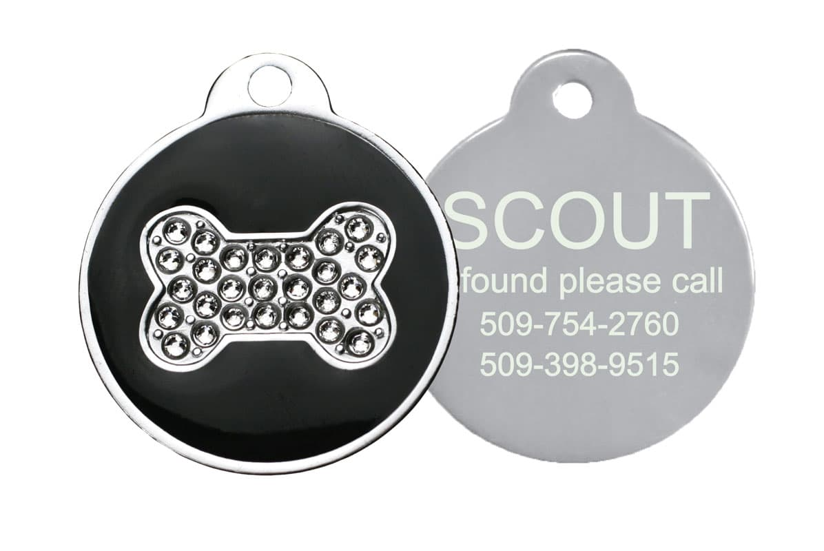 GoTags Personalized Dog ID Tag with Crystal Bone Engraved