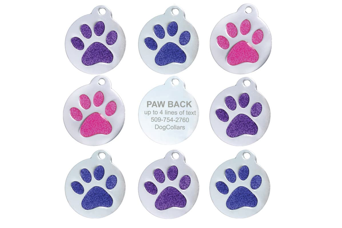 GoTags Pet ID Tag with Glitter Paw Print Personalized Engraved