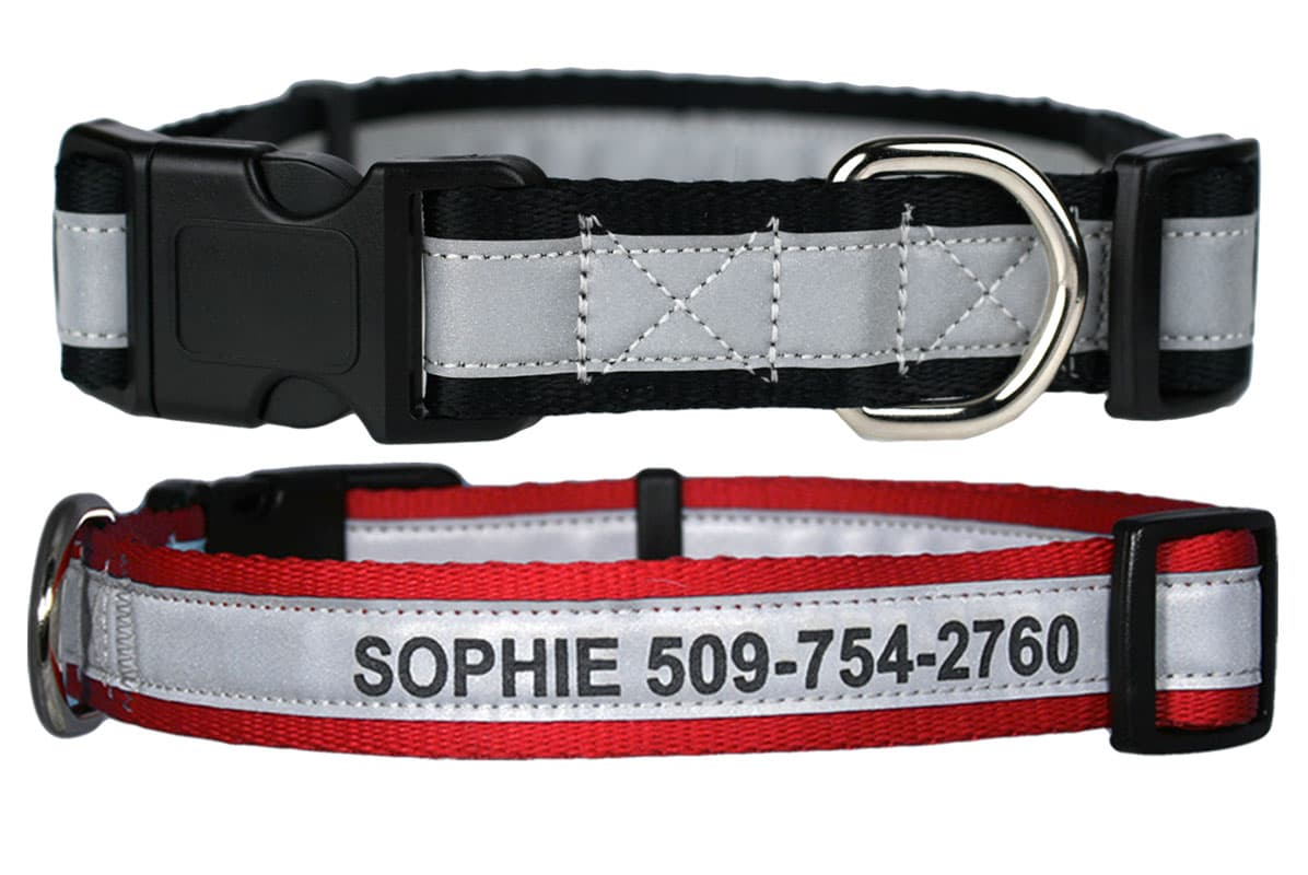 GoTags Personalized Reflective Dog Collars Engraved with Dog Name and Phone Number, Quick Release Dog Collar with Snap Buckle
