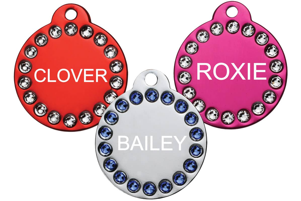 GoTags Pink, Red and Silver Pet ID Tags with Swarovski Crystals Personalized Engraved