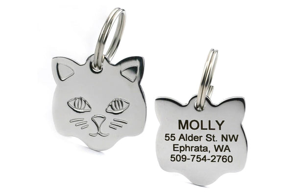 GoTags Stainless Steel Cat Shape Cat ID Tag Personalized Engraved