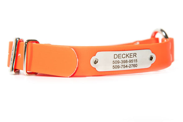 GoTags Personalized Waterproof Orange Hunting Dog Collar with Nameplate ID Tag Engraved