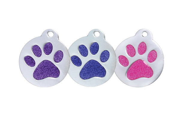 GoTags Glitter Paw Print Pet ID Tags in Pink, Purple and Blue, Personalized Engraved