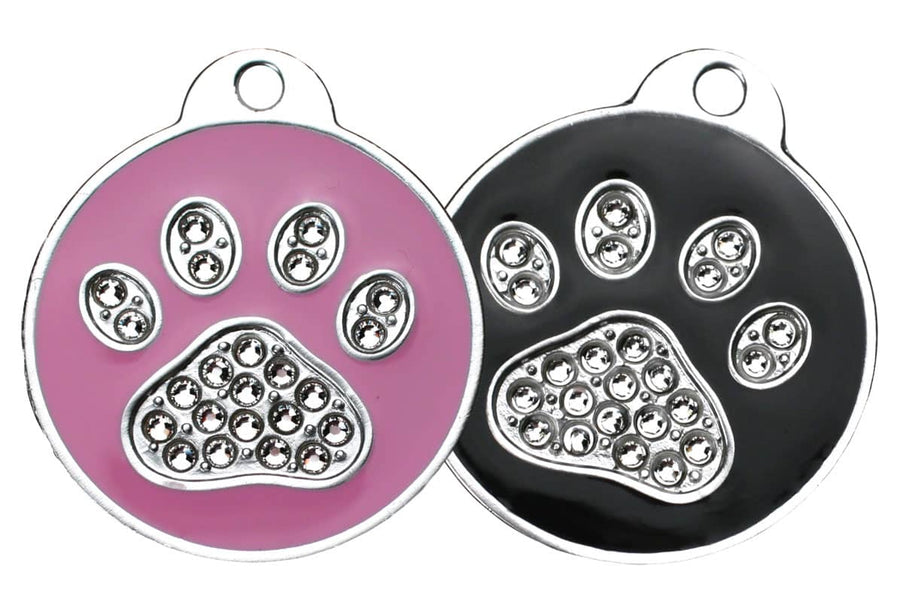 GoTags Paw Print Pet ID Tag with Swarovski Crystals Pink and Black Pet Tags