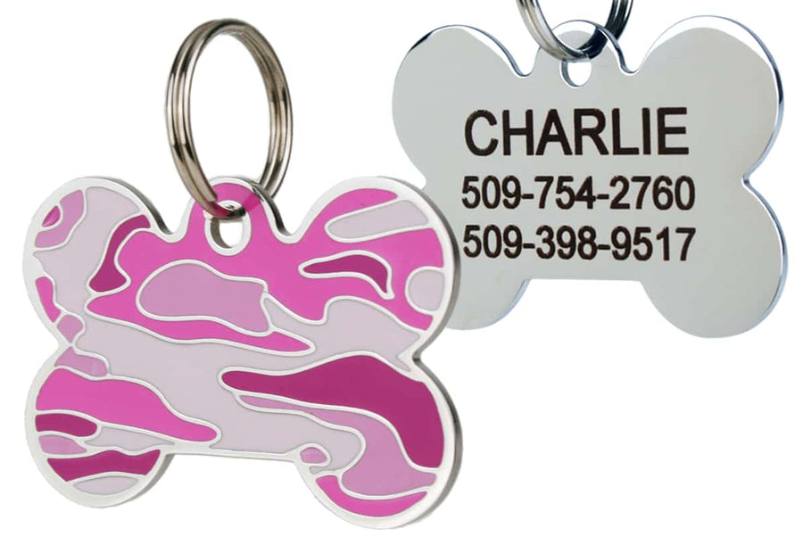 GoTags Pink Camo Dog Tags for Dogs, Camouflage Pet Tags made of Stainless Steel, Personalized