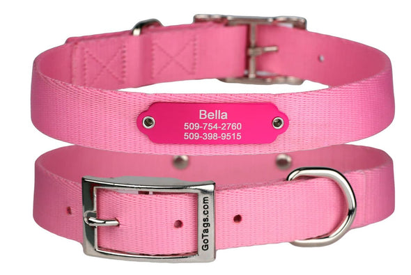 GoTags Pink Personalized Dog Collars with Nameplate ID Tag Engraved, Dog Collars with Metal Buckle