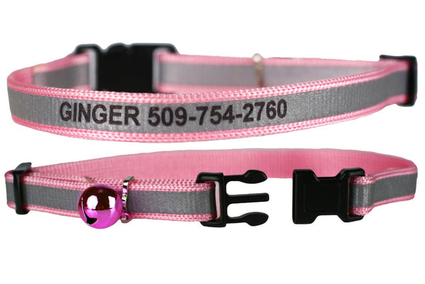 GoTags Engraved Reflective Cat Collars with Name and Phone Number, Pink Breakaway Cat Collar with Bell