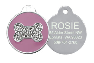 GoTags Pink Dog ID Tag with Swarovski Crystal Bone