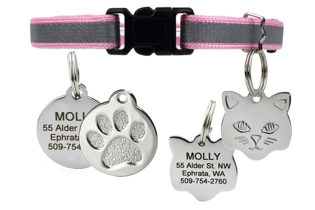 GoTags Pink Reflective Breakaway Cat Collar with Cat ID Tag Personalized Engraved