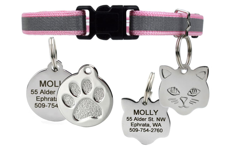GoTags Reflective Breakaway Cat Collar with Cat Tag, Pink Breakaway Cat Collar with Bell and Personalized Tag