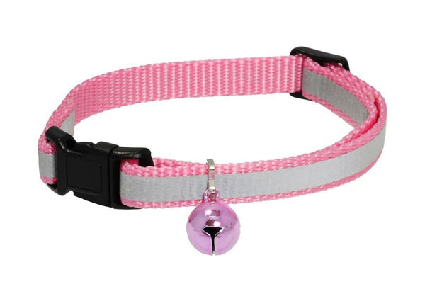 GoTags Reflective Pink Breakaway Cat Collar with Bell