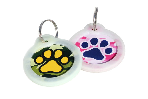 GoTags Pink and Green Camouflage Pet ID Tags Personalized Engraved, Camo Pet Tags
