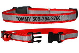 GoTags Red Personalized Cat Collar Engraved with Name and Phone Number, Reflective Cat Collar with Bell