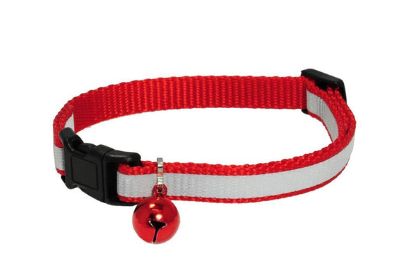 GoTags Red Reflective Cat Collar with Bell, Breakaway Cat Collar