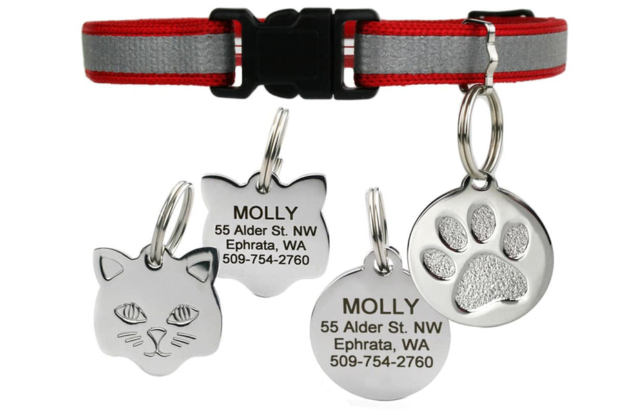 GoTags Red Reflective Breakaway Cat Collar with Tag, Stainless Steel Cat ID Tag Personalized Engraved