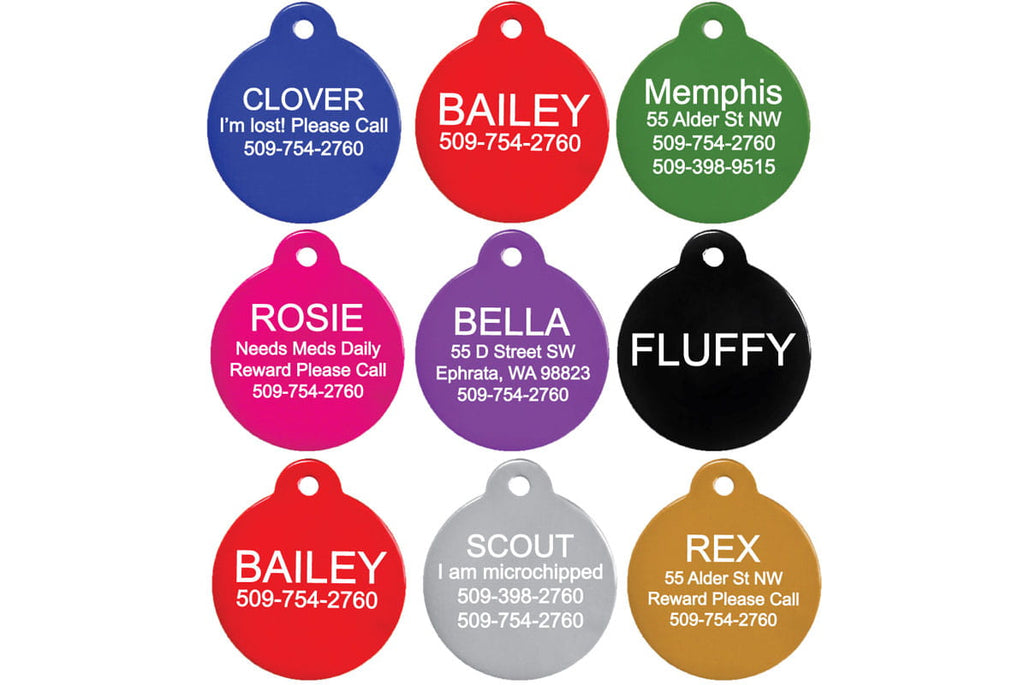 GoTags Round Pet ID Tags in Black, Blue, Green, Pink, Purple and Red, Custom Engraved and Personalized