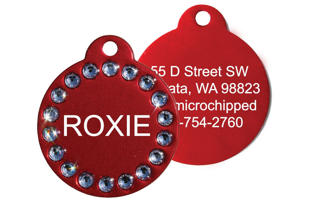 GoTags Red Pet ID Tag with Swarovski Crystals, Personalized Engraved Pet Tags