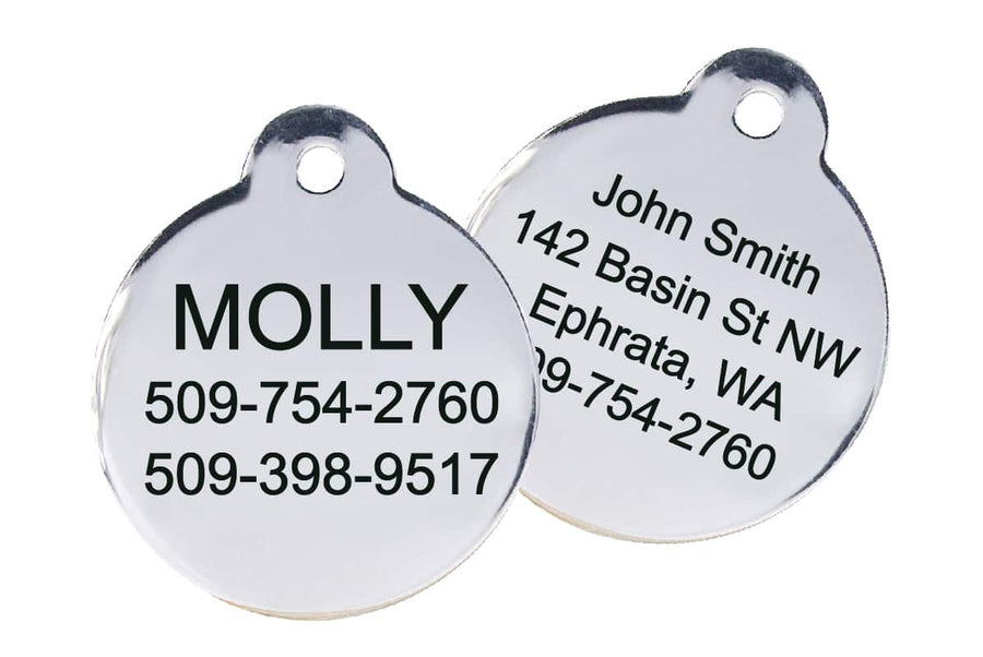 GoTags Round Shape Stainless Steel Pet ID Tag
