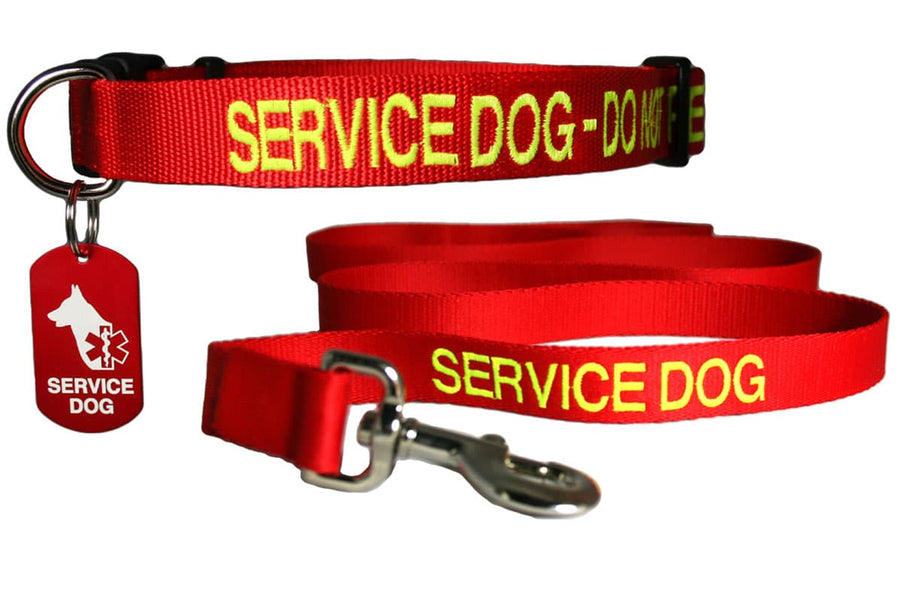 GoTags Service Dog Collar and Leash Set with Personalized Dog Tag