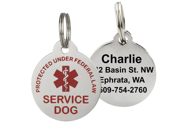 GoTags Service Dog Tags with Medical Alert Symbol, Stainless Steel Dog Tags Personalized with 4 Lines of Engraved ID