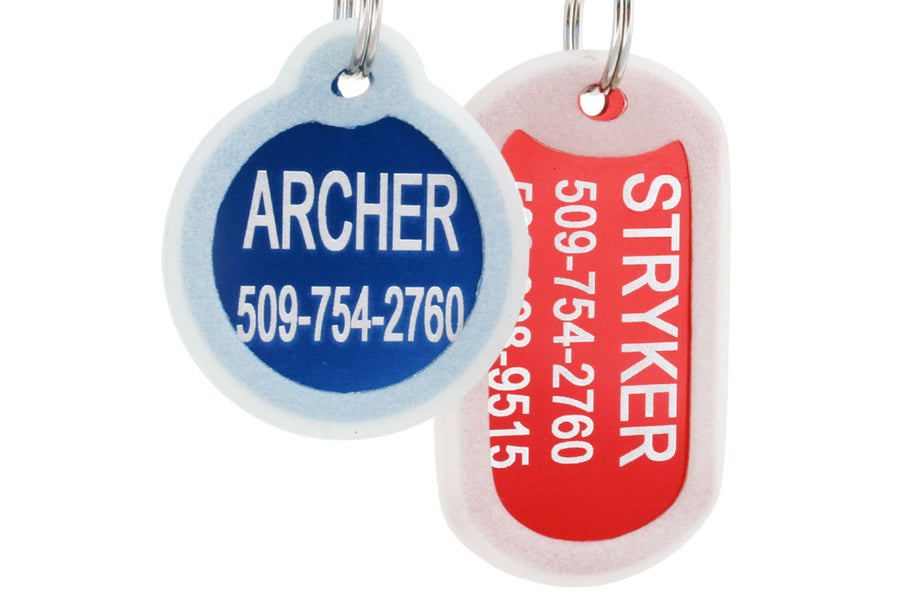 GoTags Silent Pet Tags Engraved and Personalized, Quiet Dog Tags with Silencer
