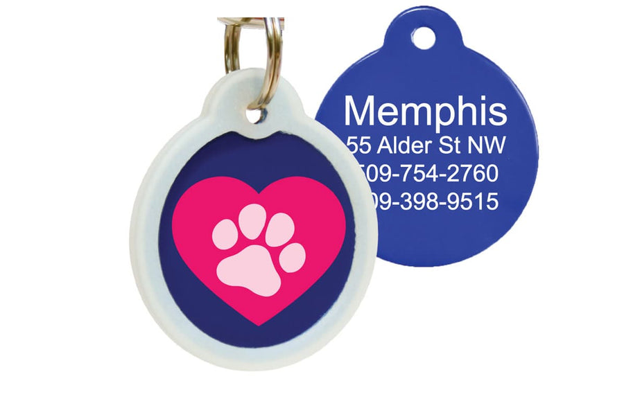 GoTags Silent Pet ID Tag with Pink Heart and Paw Print, Pet Tag with Silencer Personalized Engraved