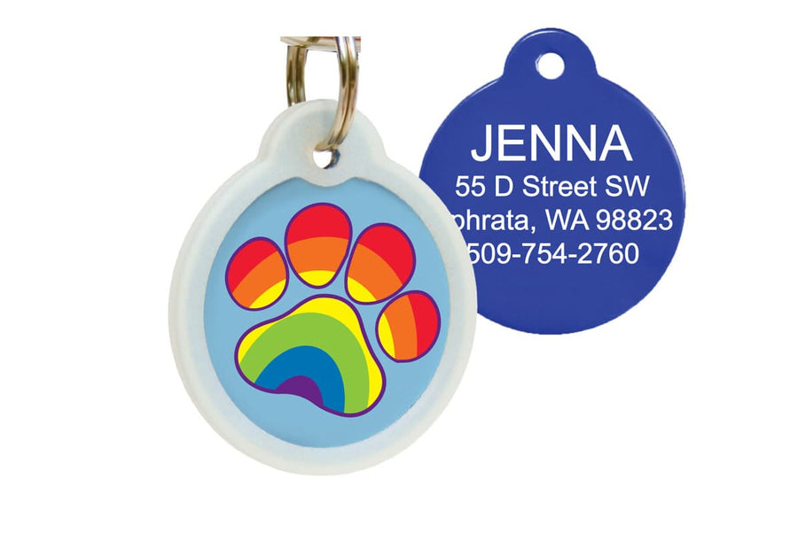 GoTags Silent Rainbow Paw Print Pet ID Tag with Silencer, Quiet Dog Tag Personalized Engraved