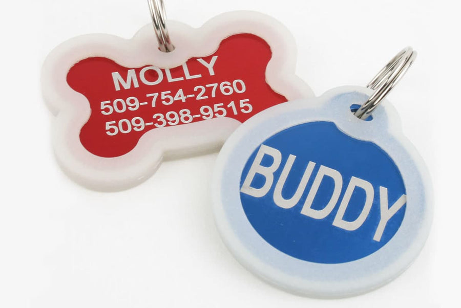 GoTags Silent Pet ID Tags with Silencer, Bone and Round Shape Pet Tags Personalized Engraved