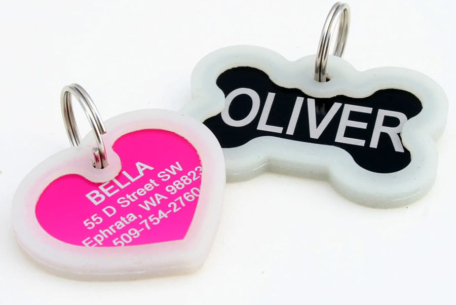 GoTags Silent Dog Tags with Rubber Tag Silencer, Bone and Heart Shaped Pet ID Tags, Double Sided Engraved and Personalized