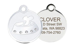 GoTags Stainless Steel Dog ID Tag for Dogs with Crystals and Bone Bowl Design, Personalized Engraved Dog Tags