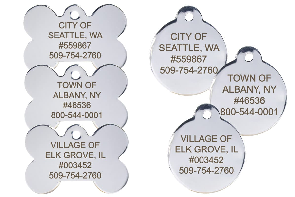 GoTags Custom Stainless Steel Municipal City Pet License Tags Wholesale Bulk Volume