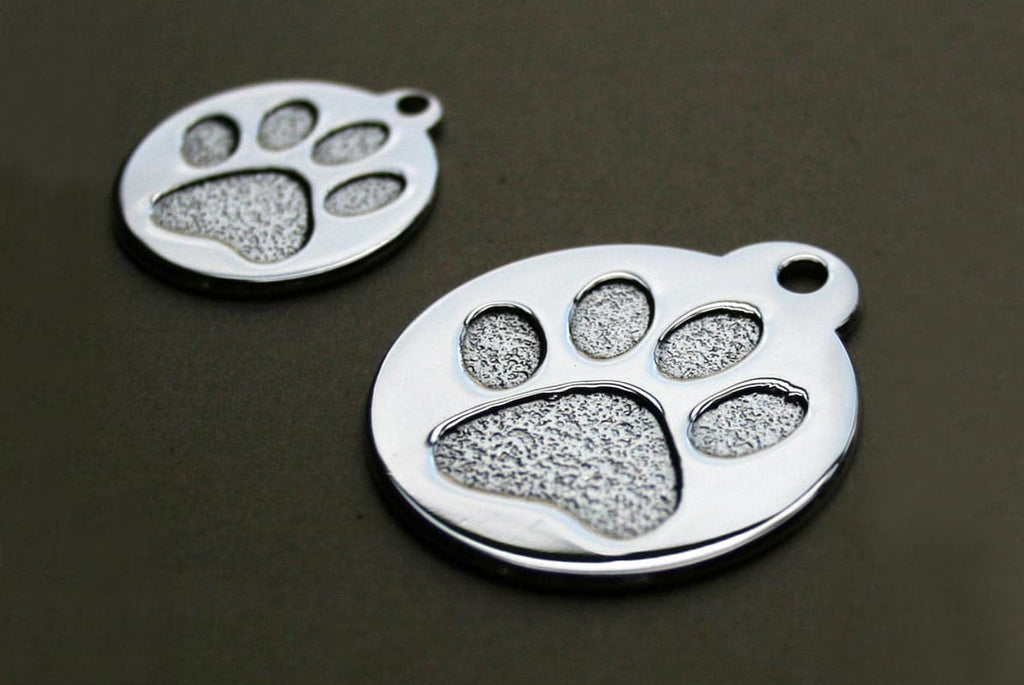 GoTags Stainless Steel Paw Print Pet ID Tags Personalized Engraved