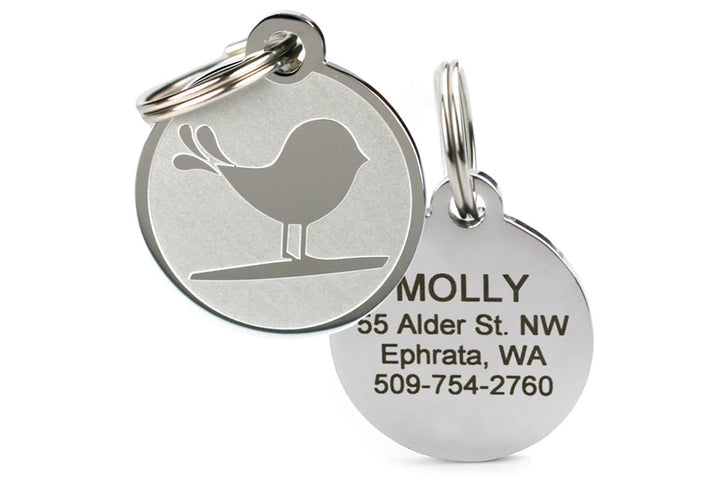 GoTags Stainless Steel Pet ID Tag with Bird Design, Personalized Engraved Pet Tags
