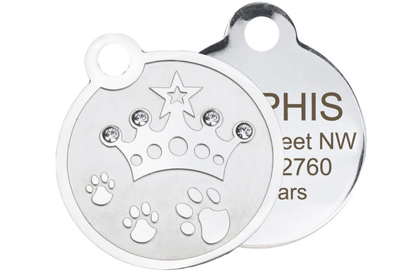 GoTags Stainless Steel Pet ID Tag with Swarovski Crystal Crown, Personalized and Engraved Pet Tags