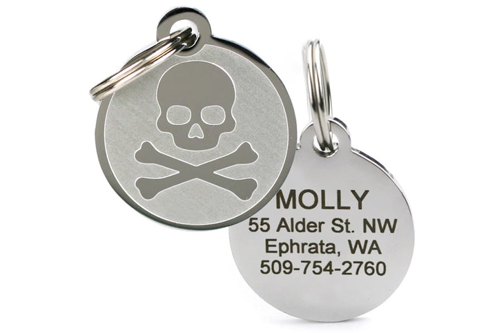 GoTags Stainless Steel Skull and Crossbones Pet ID Tag, Personalized and Engraved