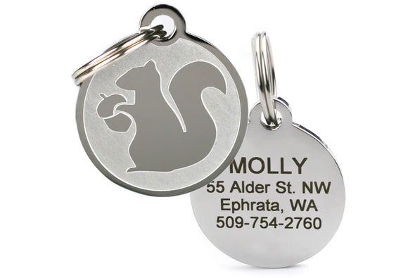 GoTags Dog Tags with Unique Squirrel Design, Personalized Engraved Pet ID Tags