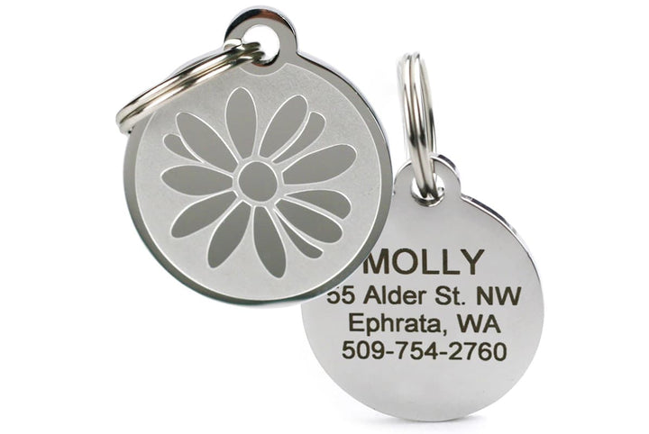 GoTags Daisy Flower Pet Tag made of Stainless Steel, Engraved and Personalized
