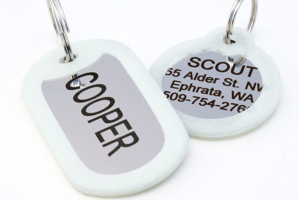 GoTags Stainless Steel Silent Pet ID Tag with Silencer, Personalized Engraved Quiet Dog Tags