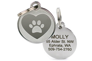 GoTags Stainless Steel Pet ID Tag with Heart and Paw Print, Personalized Engraved