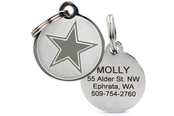 GoTags Stainless Steel Pet ID Tags with Star, Personalized Engraved